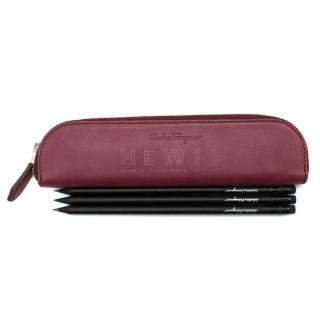 Salvatore Ferragamo Calf Leather Pencil Case & Black Pencils