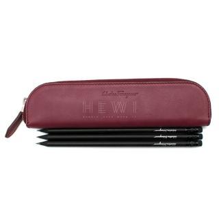 Salvatore Ferragamo Calf Leather Pencil Case & Black Pencils