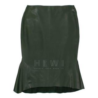 Tom Ford Green Leather Peplum Skirt