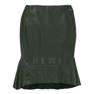 Tom Ford Green Leather Peplum Skirt