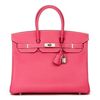 Hermes Candy Collection Rose Tyrien Bi-Colour 35cm Epsom Birkin