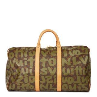 Louis Vuitton Stephen Sprouse Khaki Graffiti Canvas Keepall 50 holdall