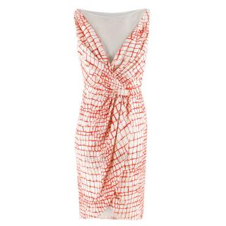 Giambattista Valli Red & White Draped Sheer Panel Sleeveless Dress