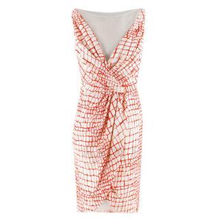 Giambattista Valli Red & White Draped Sheer Panel Sleeveless Dress