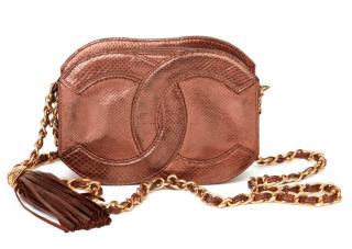 Chanel Vintage Bronze Lizard CC Camera Crossbody Bag