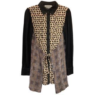 Sportmax Silk Multi-Print Shirt Dress