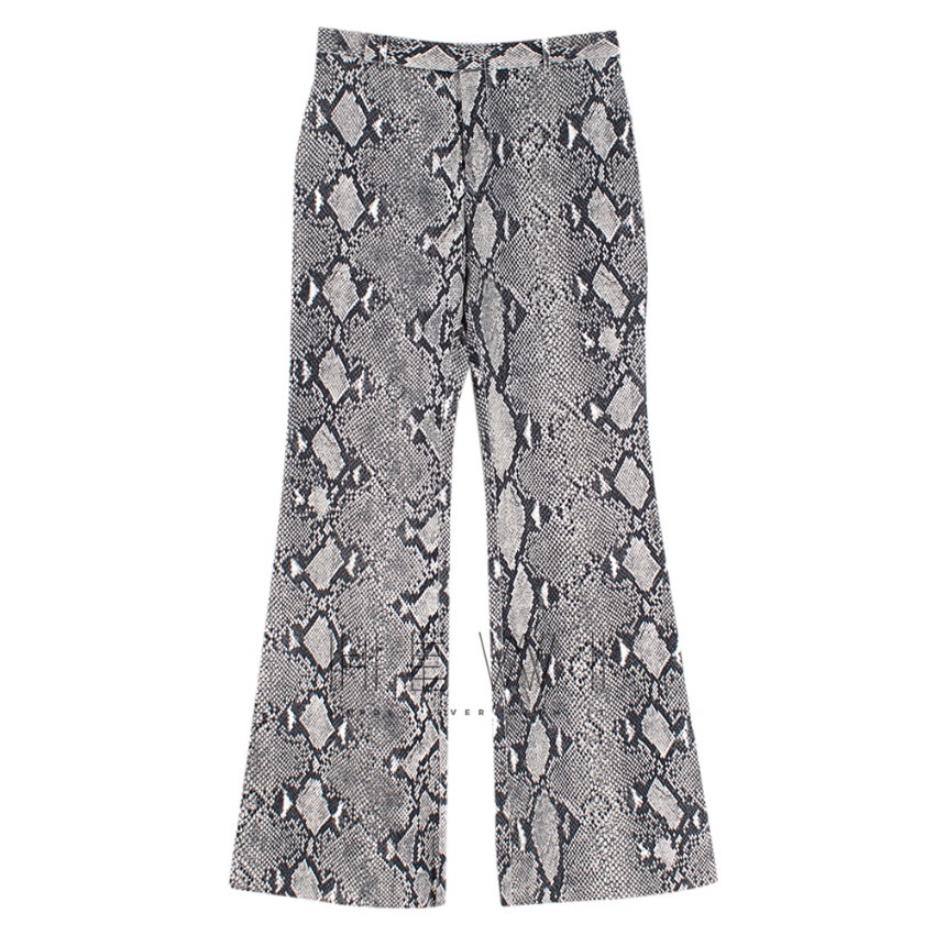 Gucci Grey Python Print Wide Leg Trousers