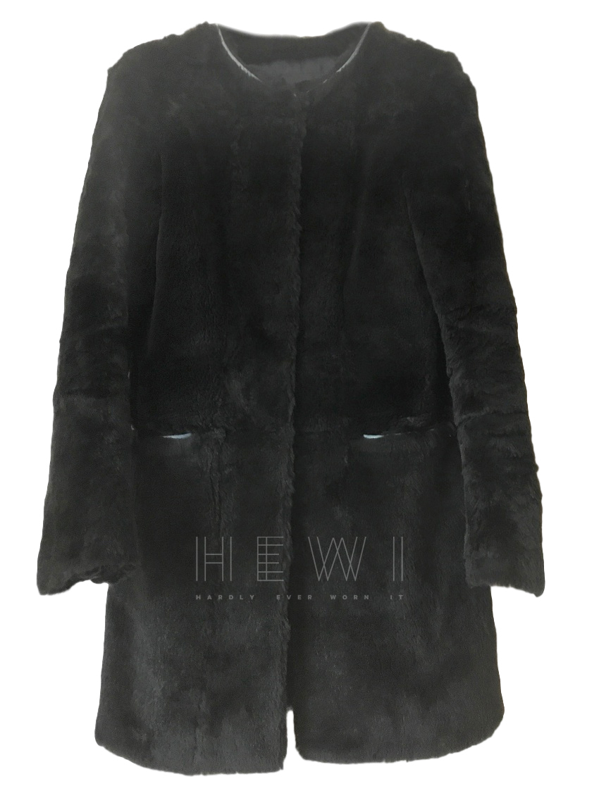 Maje Black Rabbit Fur Coat
