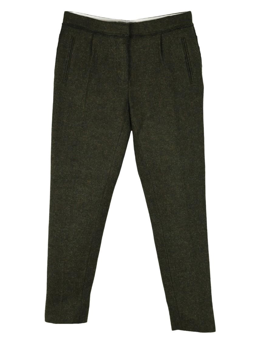Mulberry dark green wool fleece and alpaca skinny trousers