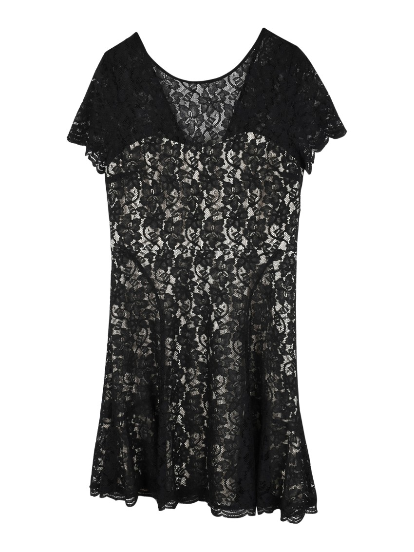 DVF short black lace dress