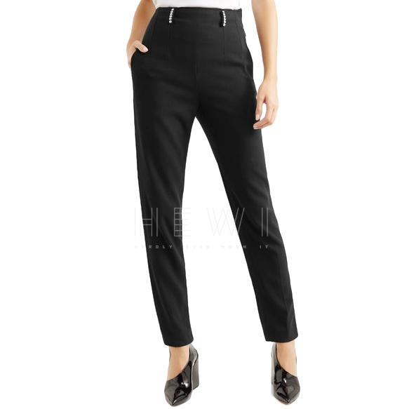 Christopher Kane Crystal-embellished twill slim-leg trousers
