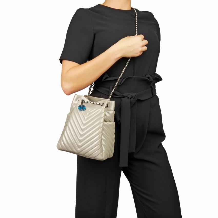 Chanel Metallic Patent Chevron Urban Spirit Bucket Bag