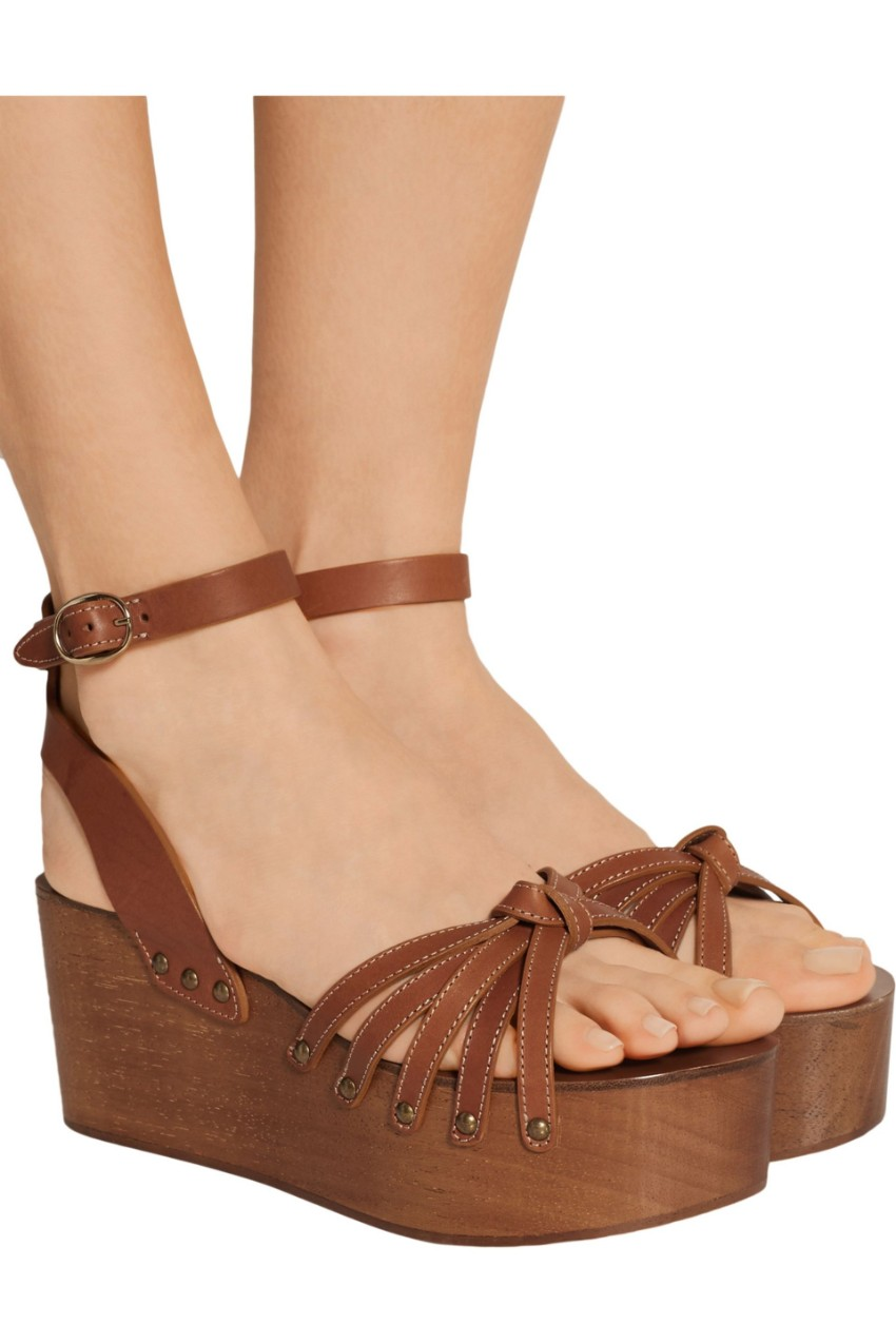 Isabel Marant Tan wooden wedge sandals