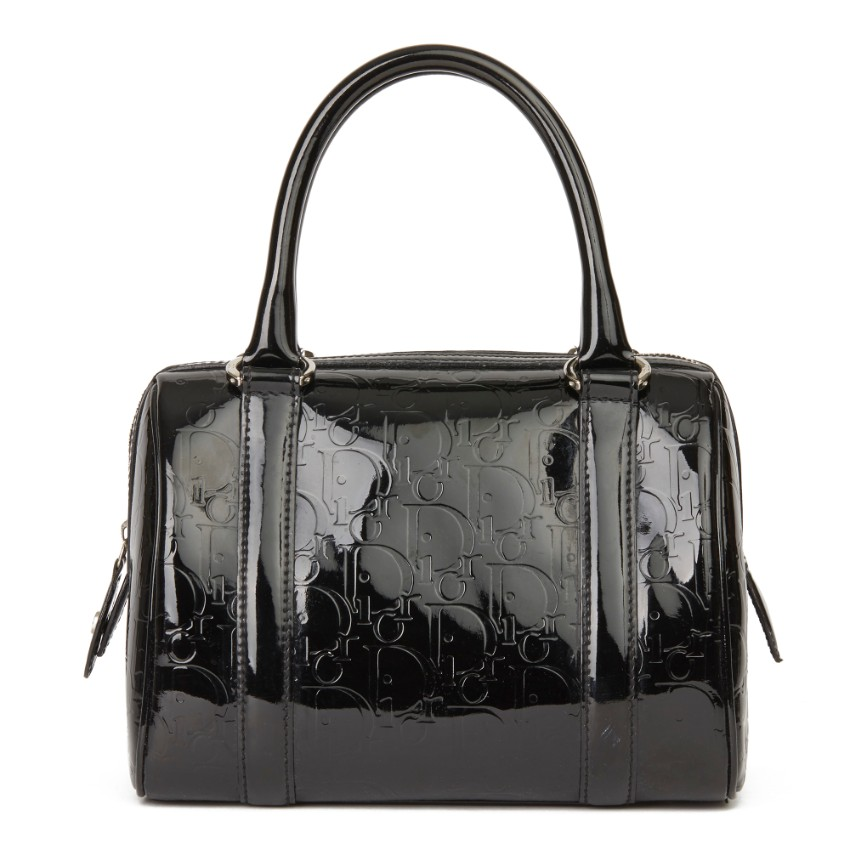 Christian Dior 20cms Boston bag in black patent leather