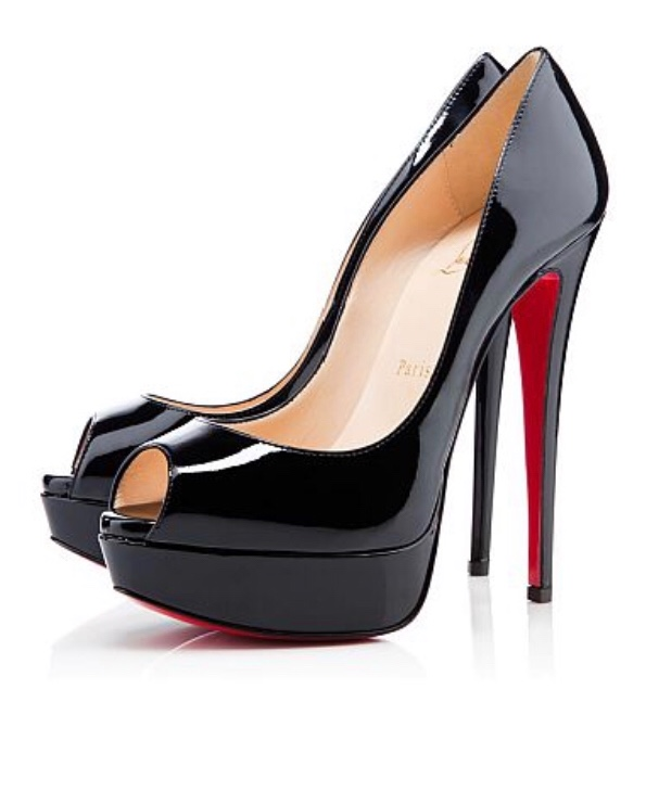 Christian Louboutin Black patent Lady Peep Pumps