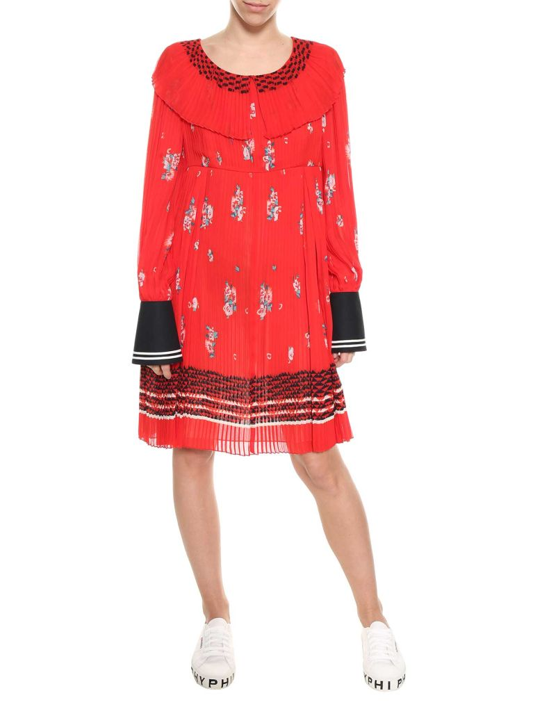 Philosophy zigzag embroidered pleated dress