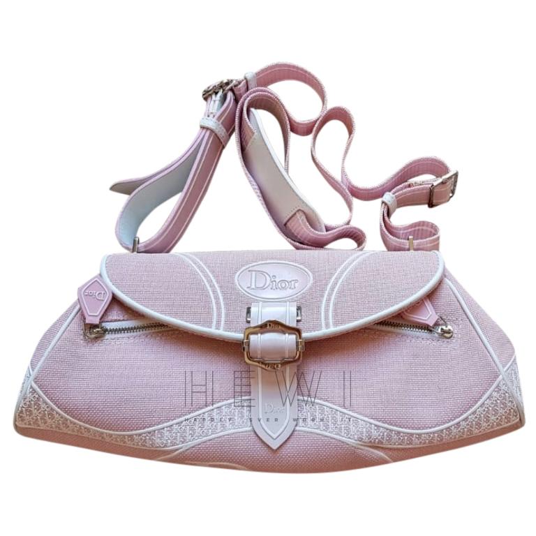 Dior Pink Canvas Saddle Bag