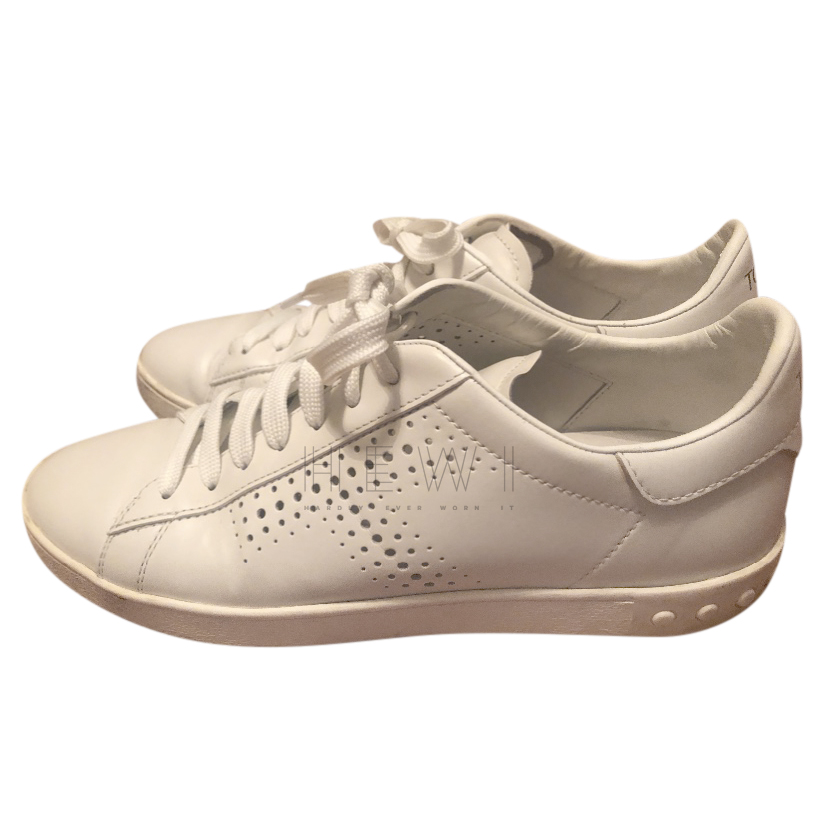 Tod's White Leather Perforated Sneakers