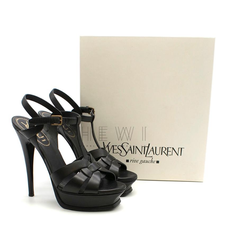 Saint Laurent Black Leather Tribute Sandals