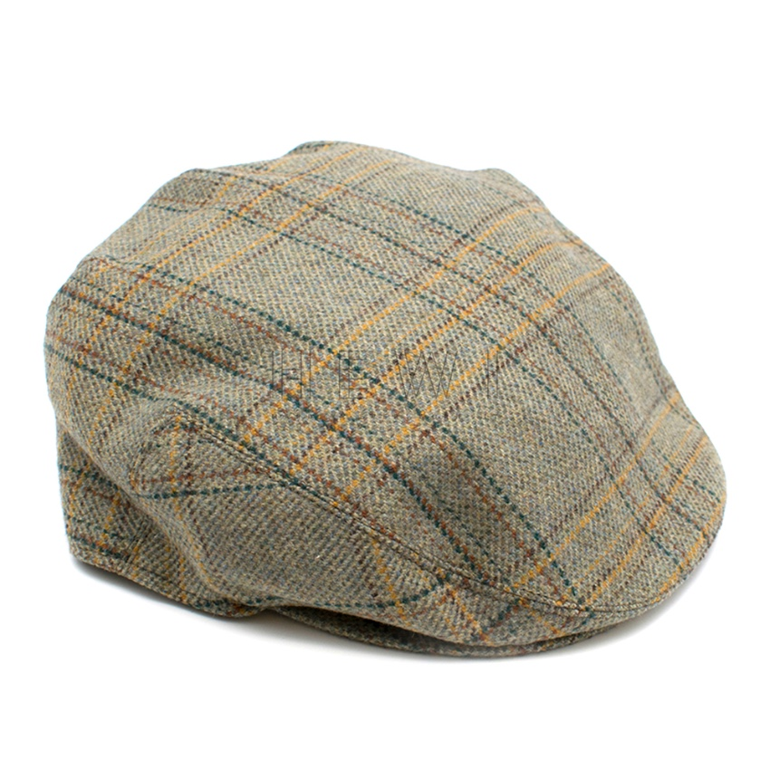 Lock & Co. Hatters Green Houndstooth Cashmere Flat Cap