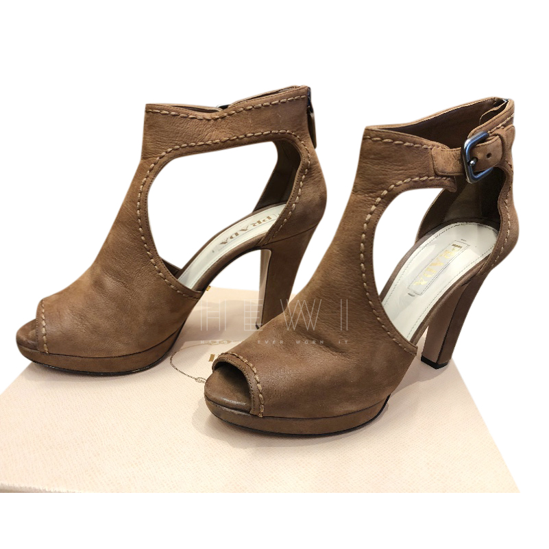 Prada Brown Cut-out Booties