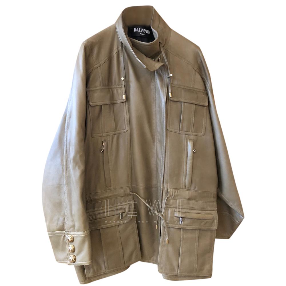 Balmain Taupe Oversize Leather Coat
