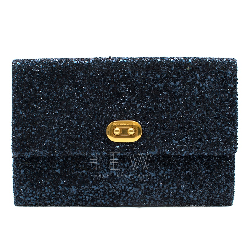 Anya Hindmarch Valorie Glitter Clutch In Blue