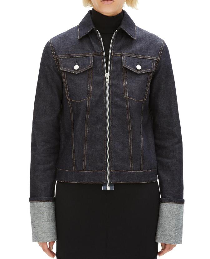 Helmut Lang zip raw denim unisex jacket