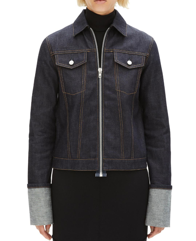 Helmut Lang zip raw denim unisex jacket
