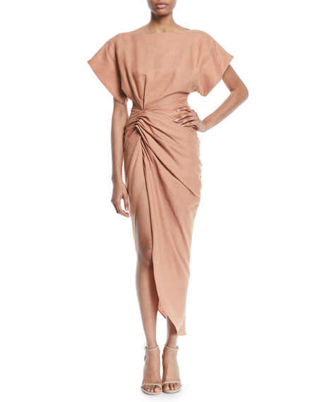Jacquemus La Robe Salvador High-Low Linen Dress