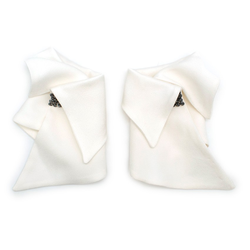 Catherine Osti White Jewel Embellished Cuffs