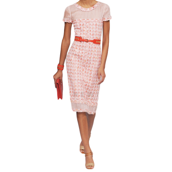 Oscar De La Renta Organza-Paneled Boucle-Tweed Dress