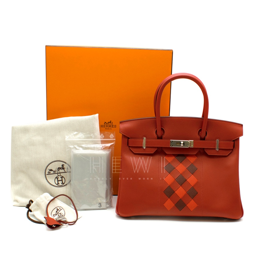 Hermes Vermillion Swift Leather 30cm Tressage Birkin - Full Set