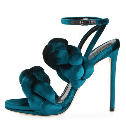 Marco De Vincenzo braided velvet sandal