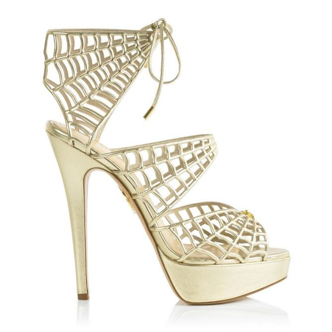 Charlotte Olympia handmade gold leather spiderweb platform sandals