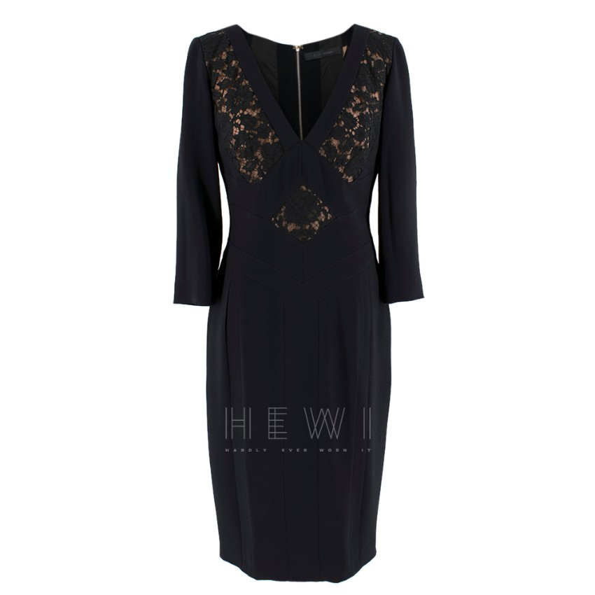 Elie Saab Black Lace Panelled Double Zip Dress