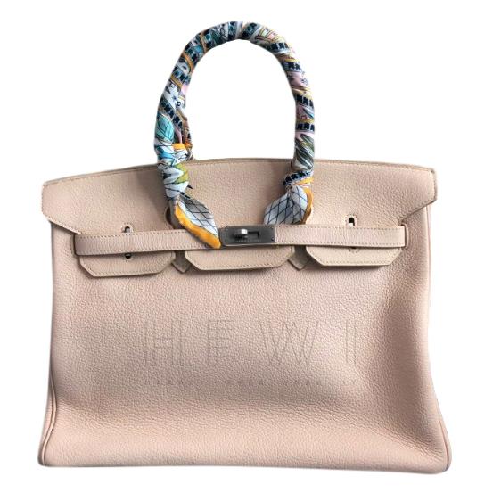 Hermes Mat White F1 Clemence Leather 35cm Birkin Bag
