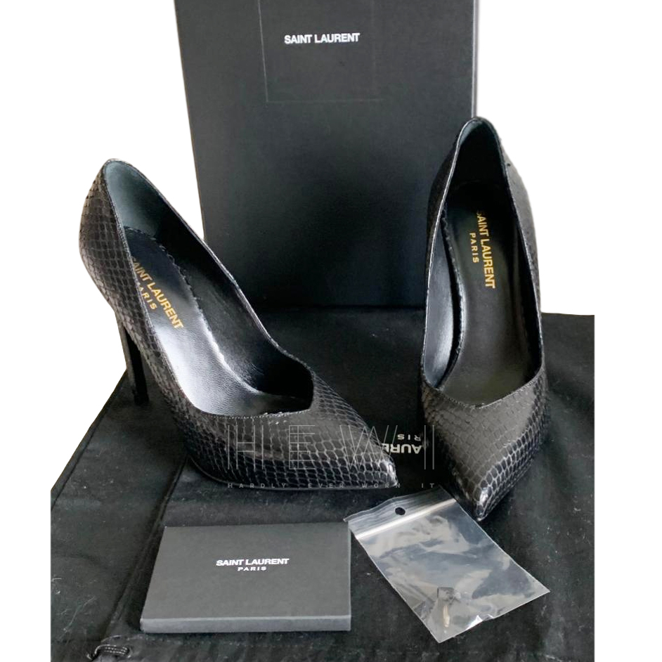 Saint Laurent Black Watersnake Pumps