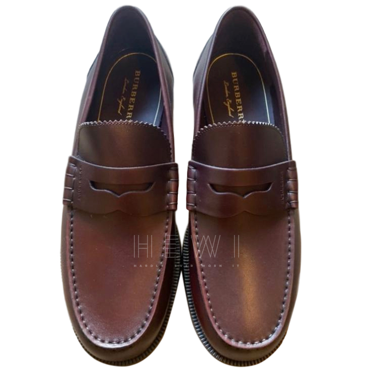 Burberry Bordeaux Leather Loafers