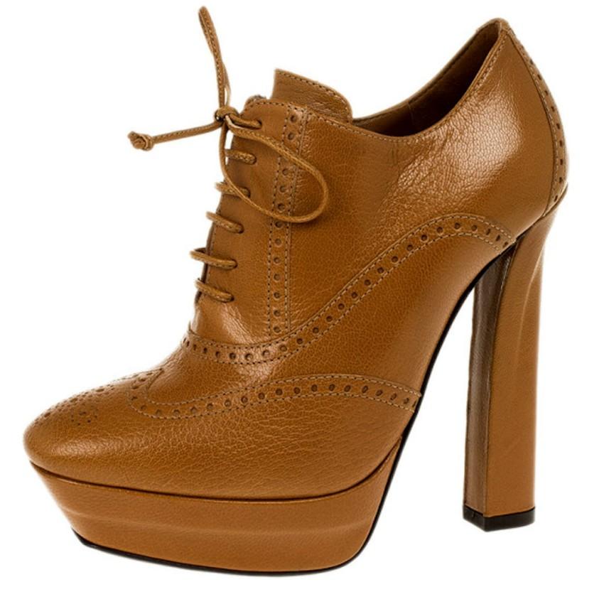 Bottega Veneta Tan Lace-Up Ankle Boots
