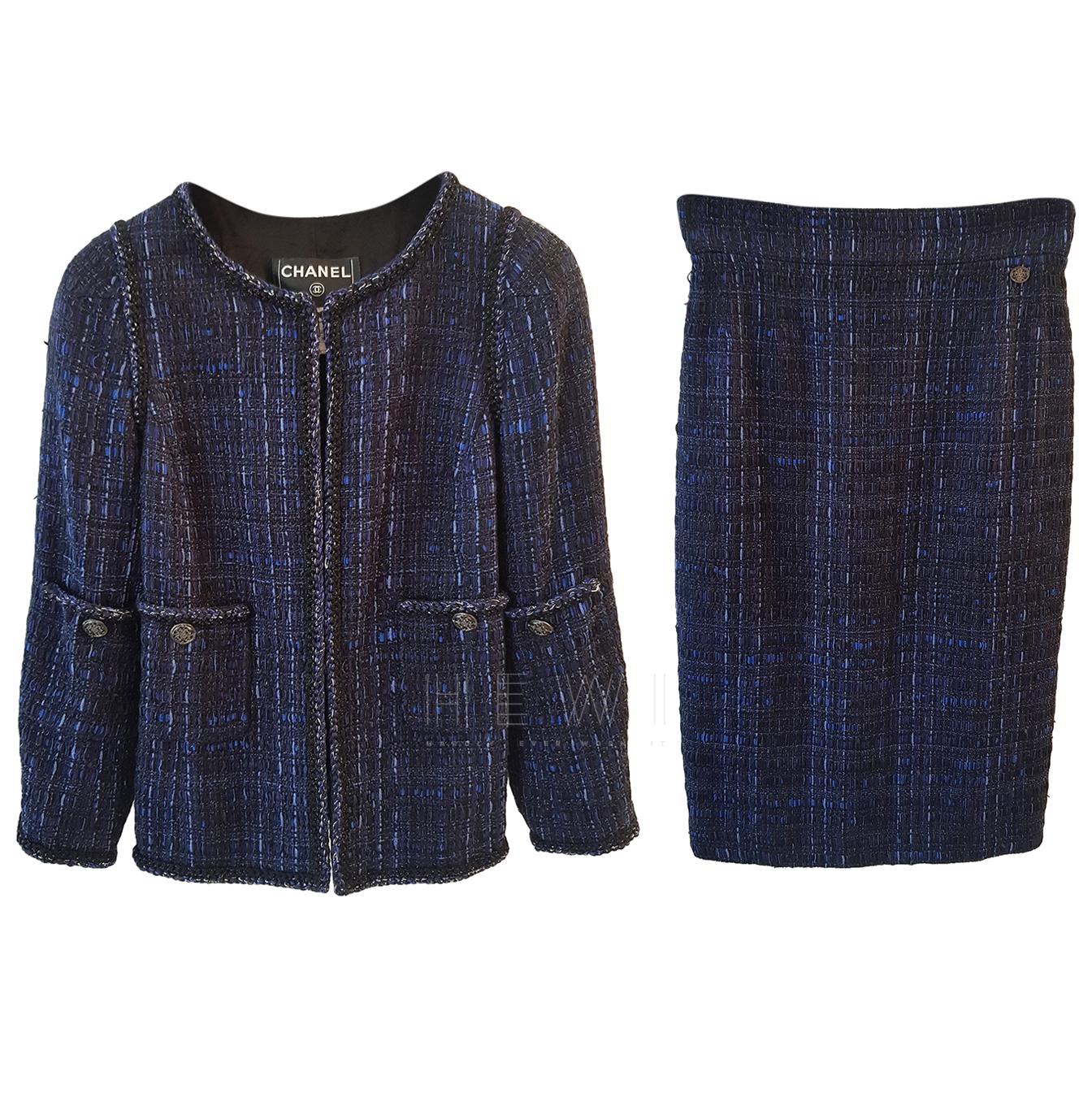Chanel Blue Tweed Skirt Suit
