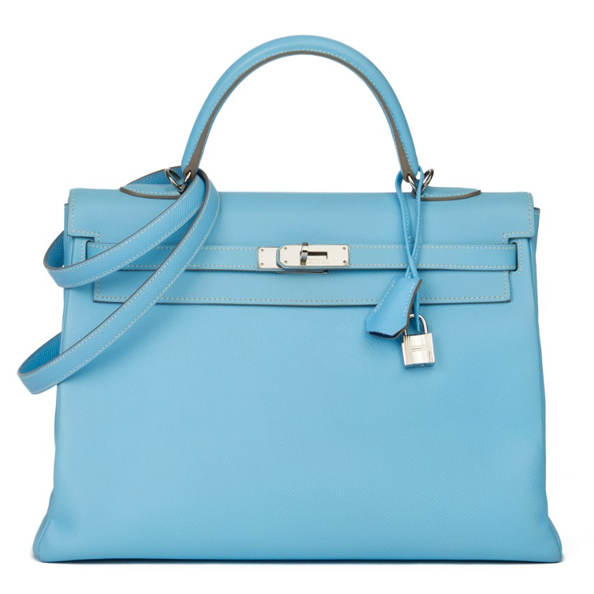 Hermes Epsom Leather Blue Bi-Colour 35cm Kelly Retourne