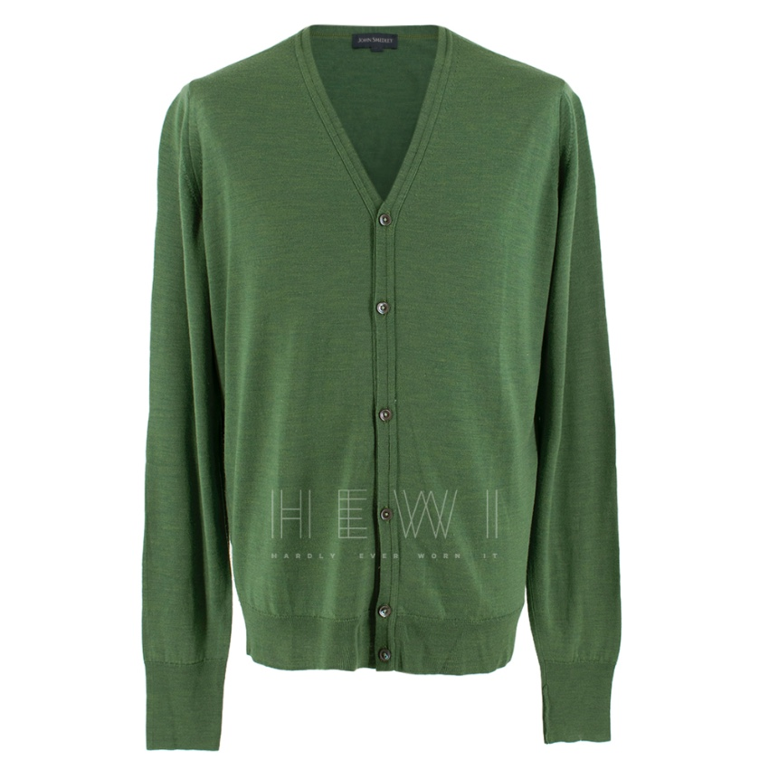 John Smedley Men's Green Wool Cardigan