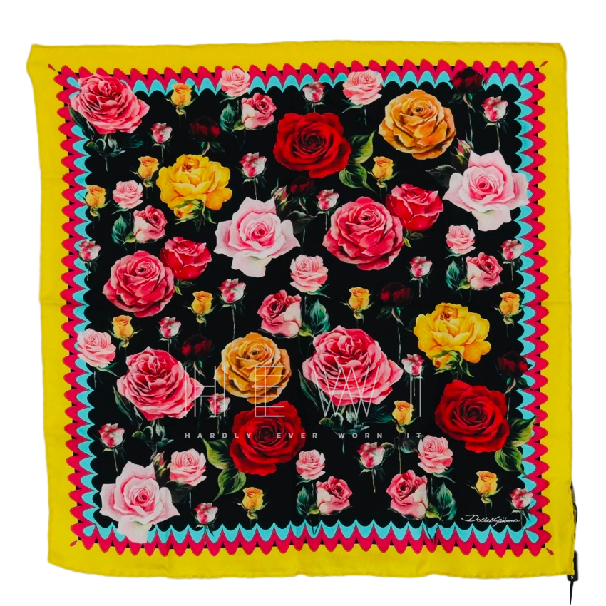 Dolce & Gabbana Rose Print Small Silk Scarf