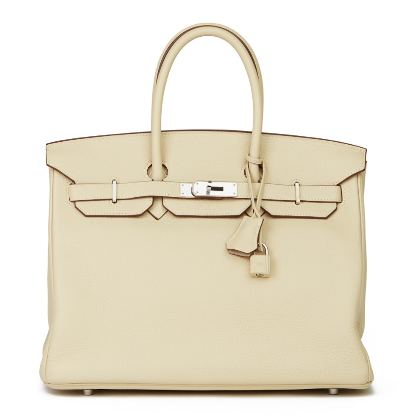 Hermes Clemence Leather Parchemin 35cm Birkin Bag