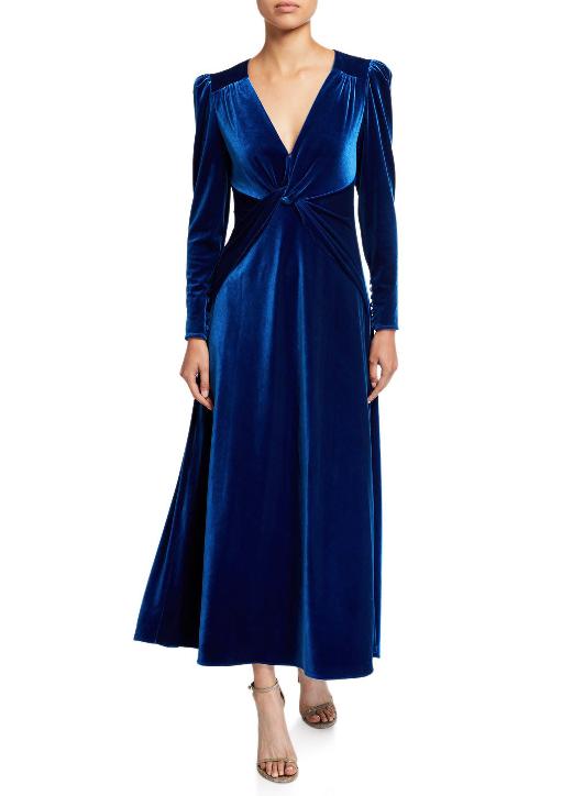 Self Portrait Twisted Velvet Long-Sleeve Dress in Blue