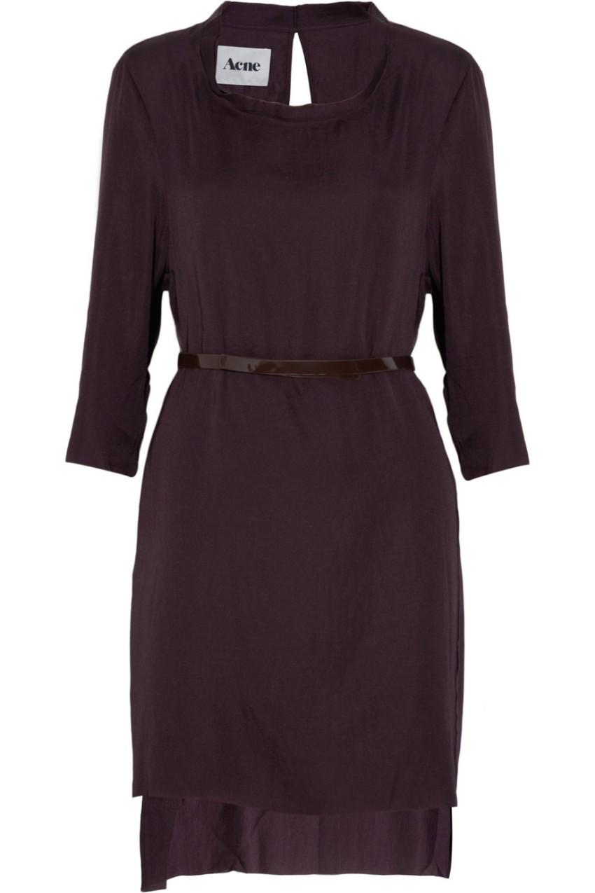 Acne dark purple semi sheer matte satin dress