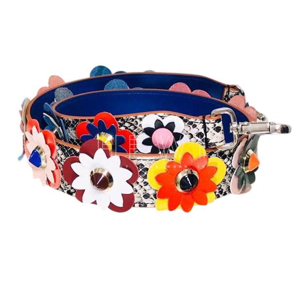 Fendi Flowerland snakeskin leather bag strap