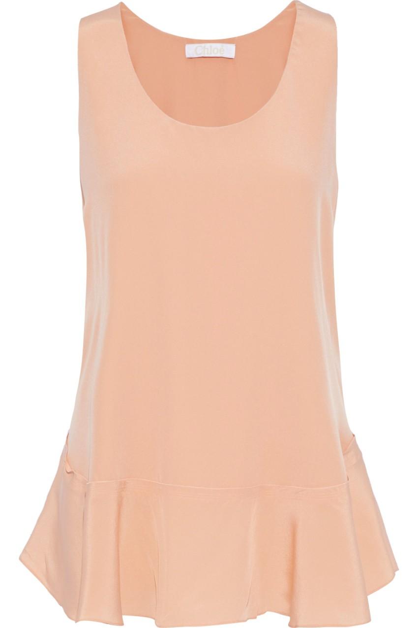 Chloe silk crepe de chine powder pink top