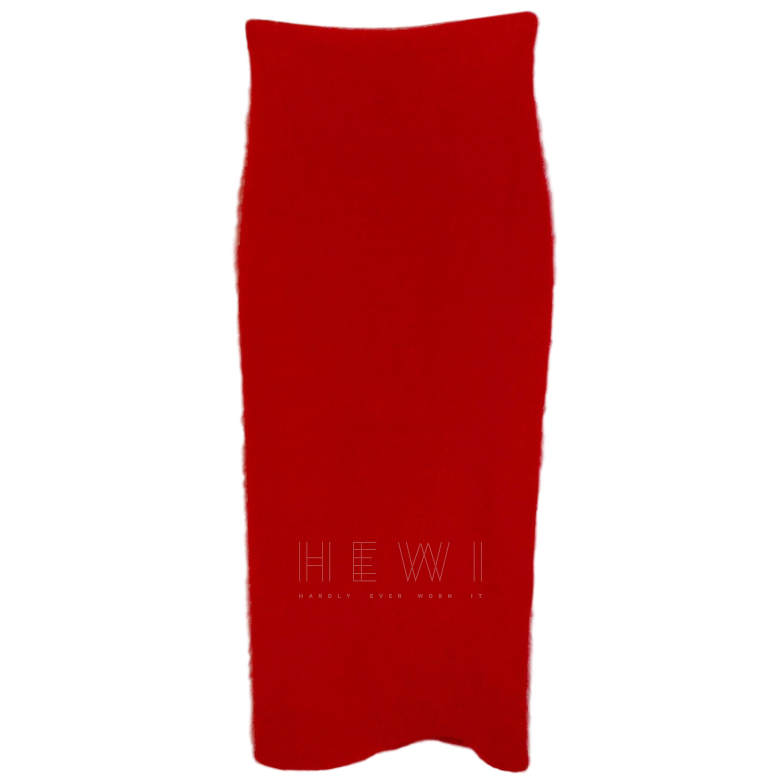 Helmut Lang Red Mohair Fitted Midi Dress